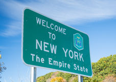 Välkomnande till tecknet för New York stat Royaltyfri Fotografi