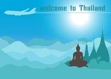Välkomnande till Thailand, loppdesign med templet, vektorillustration Arkivfoto