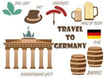 Välkomnande till Tyskland Symboler av Tyskland Turism och affärsföretag stock illustrationer