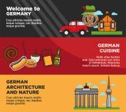 Välkomnande till Tysklandannonseringbaner med nationell kokkonst och arkitektur vektor illustrationer