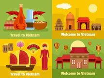 Välkomnande till uppsättningen för Vietnam banerbegrepp, lägenhetstil royaltyfri illustrationer