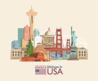 Välkomnande till USA Amerikas förenta stateraffisch med amerikanska sighter Vektorillustration om lopp royaltyfri illustrationer