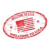 Välkomnande till USA den rubber stämpeln Royaltyfri Bild