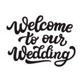 Välkomnande till vår gifta sig text vektor illustrationer