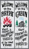 Välkomnande till vårt firepit- och kabintecken stock illustrationer