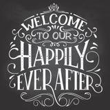Välkomnande till vårt lyckligt någonsin efter tecken royaltyfri illustrationer