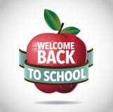 Välkomnande tillbaka till skolaäpplesymbolen Royaltyfria Bilder