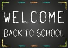 Välkomnande tillbaka till skolaaffischen Arkivfoto