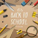 Välkomnande tillbaka till skolamallen med skolor Arkivfoton