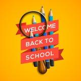 Välkomnande tillbaka till skolan på gul bakgrund Arkivbilder