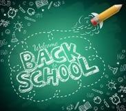 Välkomnande tillbaka till skolateckningen i grön svart tavlabakgrund stock illustrationer