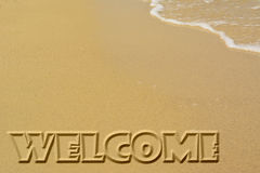 Välkomnandet sandpapprar affischen Royaltyfri Foto