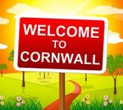 Välkomnandet till Cornwall visar Förenade kungariket och Britannien Arkivfoton