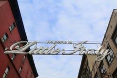 Välkomnandet till lilla Italien undertecknar in Lower Manhattan Royaltyfria Bilder