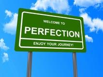 Välkomnandet till perfektion undertecknar royaltyfria foton