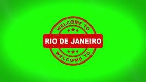 Välkomnandet till RIO DE JANEIRO undertecknade stämpling textav trästämpelanimering stock illustrationer