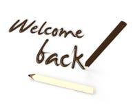 Välkomnandet tillbaka vid choklad ritar på vit bakgrund Royaltyfri Fotografi