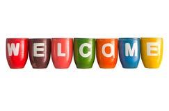 Välkomnandet uttrycker på vaseisolatbakgrund Arkivfoto