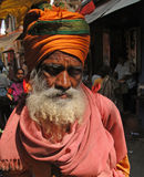 välsignelser ger hinduisk sadhu Royaltyfri Foto