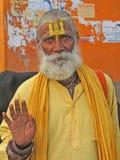 välsignelser ger hinduisk sadhu Royaltyfri Bild