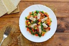Välsmakande grönsakragu med den fega filén på en vit platta och en trätabell Feg grönsakragu royaltyfria bilder