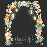 Välva sig blom- jul för vattenfärg med hängande lampor för feriedesign royaltyfri illustrationer