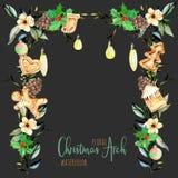 Välva sig blom- jul för vattenfärg med hängande lampor för feriedesign vektor illustrationer