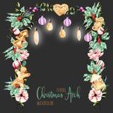 Välva sig blom- jul för vattenfärg med hängande lampor för feriedesign stock illustrationer
