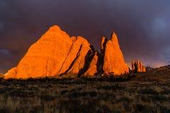 välva sig nationalparksolnedgång Royaltyfria Bilder