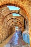 Välvd gata i den gamla staden av Safi, Marocko Royaltyfria Bilder