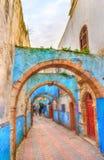 Välvd gata i den gamla staden av Safi, Marocko Royaltyfri Foto