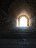 Välvd korridor som leder till borggården av Alexandria Castle Arkivfoto