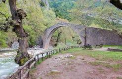 välvd sten för brogreece pyli thessaly Royaltyfria Foton