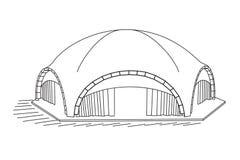 Välvt tält på vit bakgrund stock illustrationer