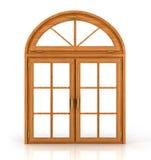 Välvt träfönster Arkivbild