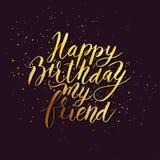 Vän för lycklig födelsedag Gratulera hand dragit citationstecken stock illustrationer
