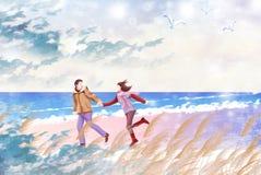 Vän som spelar i sandstranden - grafisk målningtextur Royaltyfri Bild