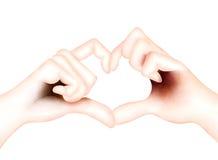 Vän som visar hjärtasymbol med händer Arkivbild
