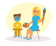 vänd målningen mot vektor cartoon stock illustrationer