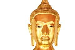 Vända mot den closeupbuddha statyn som isoleras på vit bakgrund Royaltyfria Foton