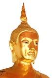 Vända mot den closeupbuddha statyn som isoleras på vit bakgrund Royaltyfri Foto
