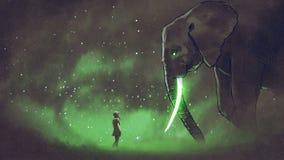 Vända mot den legendariska elefanten stock illustrationer
