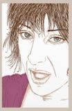 Vända mot en härlig kvinna som talar med långt dragit hår Arkivbild