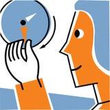 Vändande händer för kvinna på klockan Vektor Illustrationer