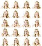 vänder flickan mot många som är tonårs- royaltyfria foton