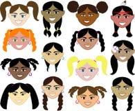 vänder flickor mot royaltyfri illustrationer