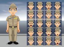 Vänder mot tjänste- kaki- tecknad filmsinnesrörelse för marinen vektorillustrationen Royaltyfri Foto