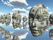 vänder pengar mot vektor illustrationer