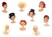 vänder s-kvinnor mot vektor illustrationer