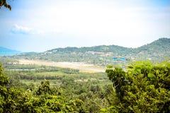 Vändkretsö Samui, hav och flygplats, panorama Arkivfoton